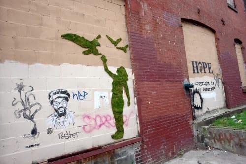 Street Murals by Mosstika seen at Dumbo, Brooklyn - Moss Graffiti