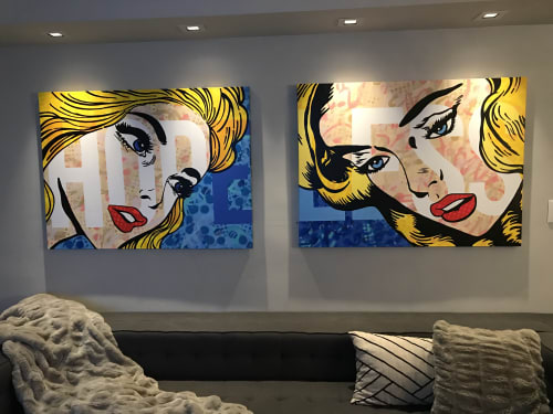 "Paintings by FeeBee Art seen at Private Residence, New York - ""Hope Less"" Commission Paintings"