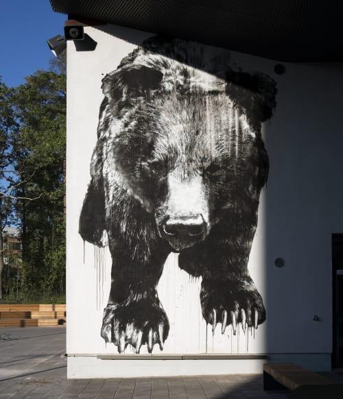 Murals by Jussi TwoSeven seen at Otaniemen lukio, Espoo - Otakarhu
