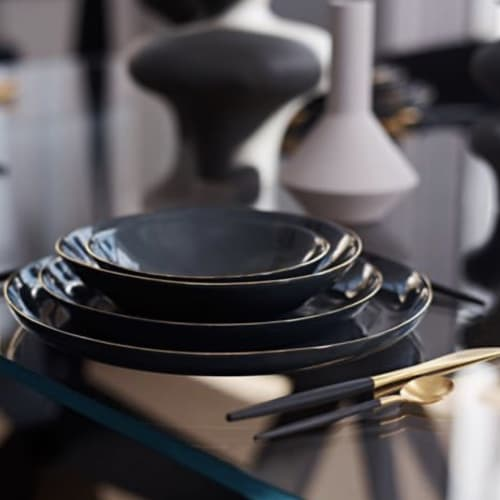 Ceramic Plates by FebbieDay Ceramics seen at Private Residence, Norwich - Charcoal Porcelain & Gold Dinnerware Set