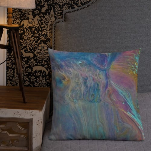 Pillows by Meanmagenta Marbling & Photography seen at Creator's Studio, Ashbourne - Flowing patterns
