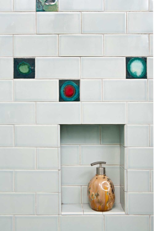 Tiles by Clay Squared to Infinity seen at Private Residence, Minneapolis - Skyline Mid-Century Bathroom