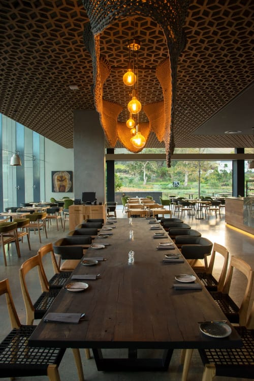 Lighting Design by Studio Lloyd seen at The Skotnes Restaurant, Cape Town - The Amoeba Light Sculpture