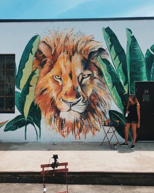 Murals by Charly Malpass Art seen at Aeronaut Brewing Company, Somerville - Lion Mural