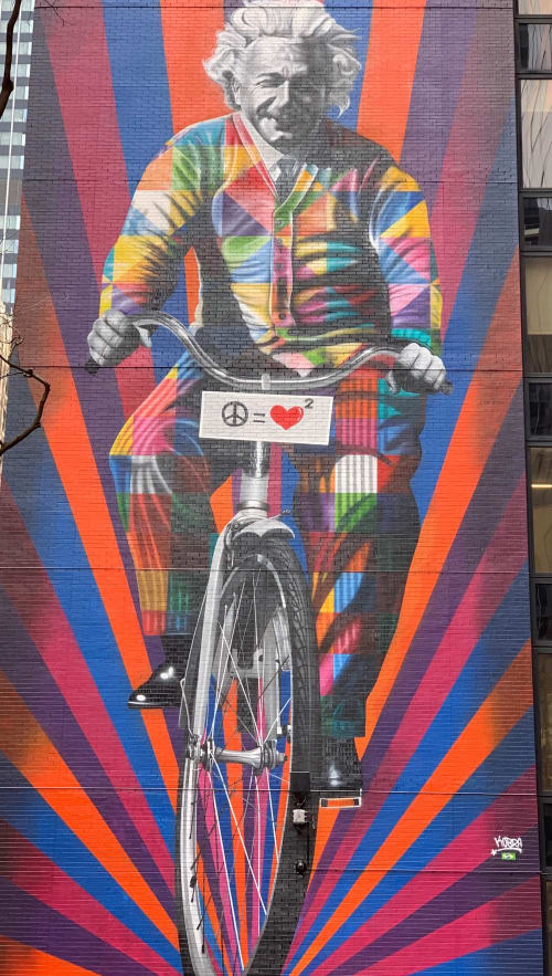 Street Murals by Eduardo Kobra seen at 780 Third Ave, New York - Einstein on a Bicycle