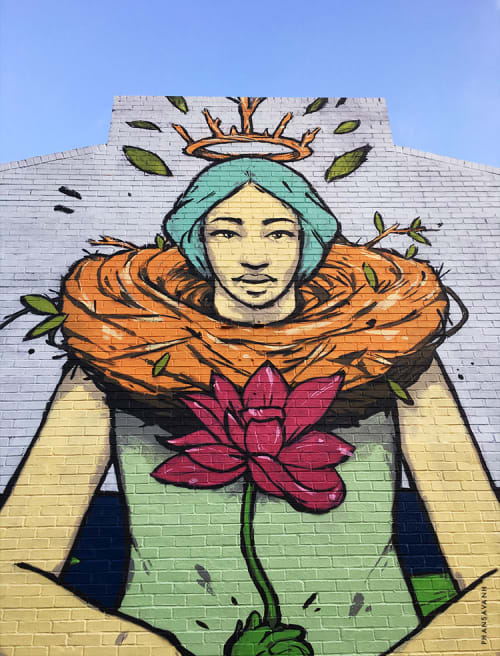 Street Murals by Sanithna Phansavanh at Buford Highway, Atlanta - Our Lady of Buford Highway