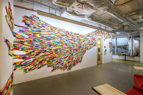 "Wall Treatments by Andrea Myers seen at Facebook Chicago, Chicago - ""Rainbowedbend"", site specific textile installation"