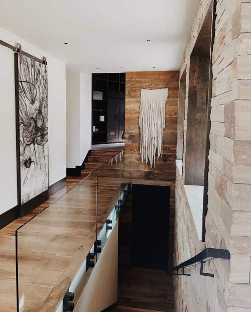 Wall Hangings by Taiana Giefer seen at Private Residence, Vail - Seed No.082: Snow Wolf