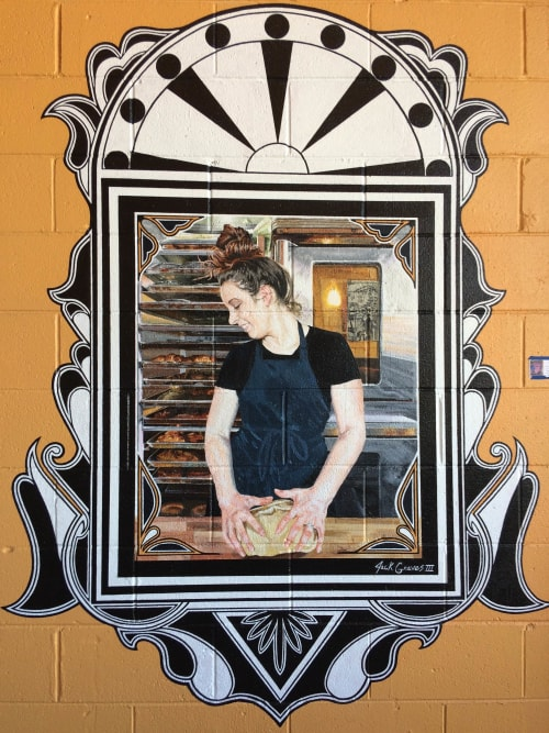 Murals by Jack Graves seen at Paradox Pastry, Charlottesville - Indoor Mural