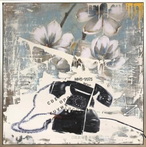 Paintings by Tina Psoinos art + photography seen at Private Residence, Stamford - Telephone on Flowers Blue