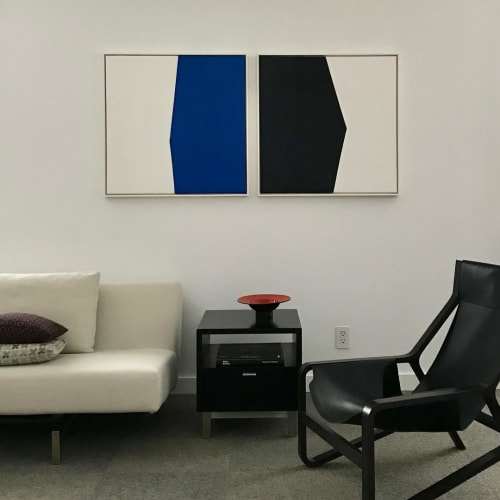Paintings by Ellen Richman at Private Residence, Minneapolis - Blue 30 x 30 and Black 30 x 30