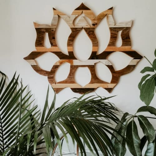 Wall Hangings by Studio Wildflower seen at Private Residence - Lotus flower Reclaimed wood wall art