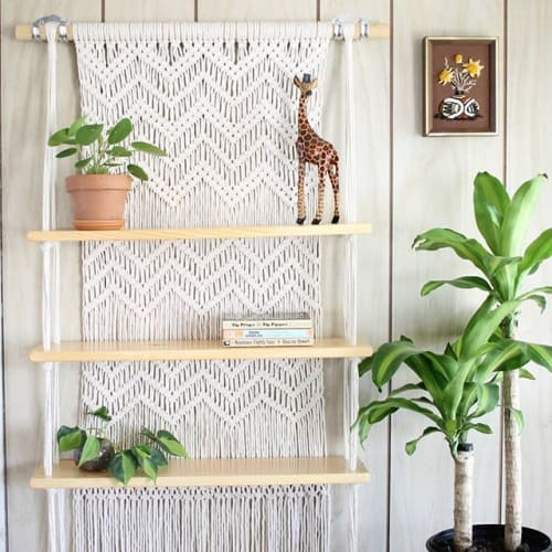 Macrame Wall Hanging by J. Barcellos Macrame seen at Private Residence, Somerville - Hand woven, hanging macrame shelves