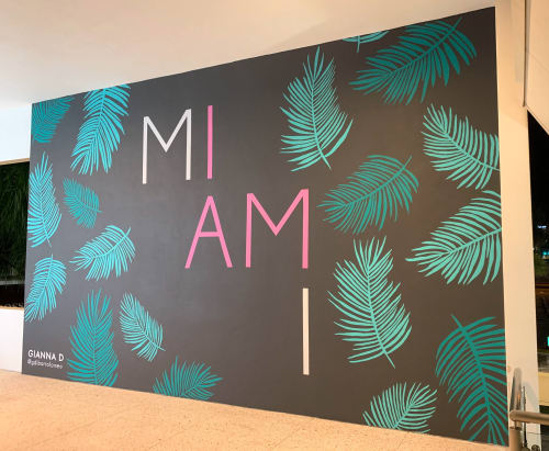 Murals by Gianna D seen at Dadeland Mall, Miami - I AM MIAMI mural