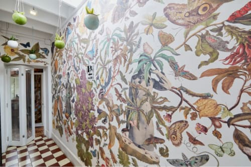 Murals by Retrollage seen at Casa Inclan, Miraflores - Retrollage mural for Plantique