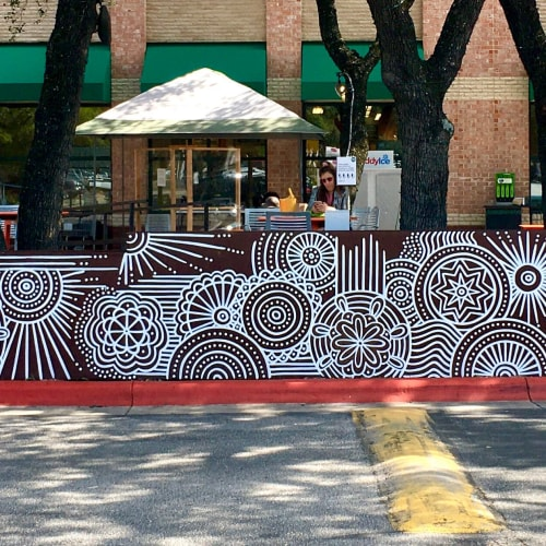 Murals by Avery Orendorf seen at Whole Foods Market, Austin - Abstract mandala mural at Whole Foods Gateway