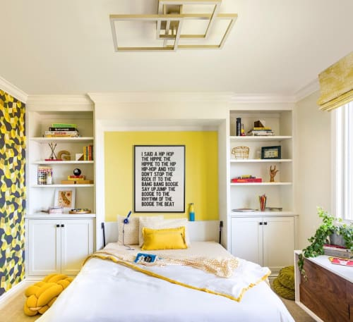 Couches & Sofas by Knots Studio By Neta Tesler seen at Private Residence, Burlingame - Mustard knot floor cushion