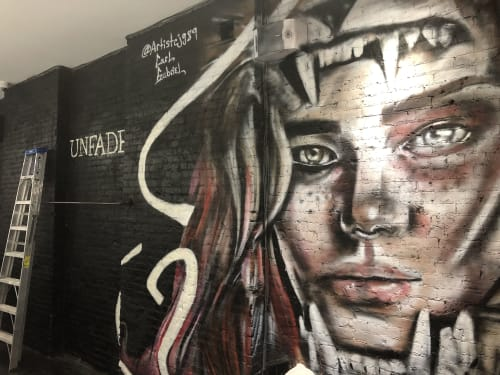 Murals by Carl J Gabriel seen at Unfade Hair Studio, New York - Blossom