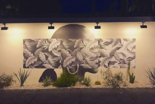 Murals by Cheyenne Randall aka INDIANGIVER seen at Villa Royale, Palm Springs - Palm Lady