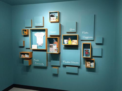 Wall Treatments by Open Eye Art seen at Ruby Receptionists, Portland - Ruby Wow Wall