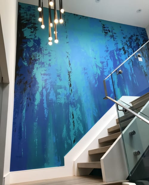 Murals by Murals By Marg seen at Private Residence, Toronto - Blue Mural - two stories