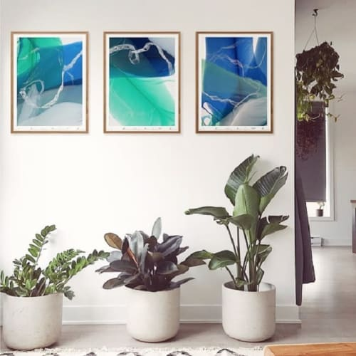 Paintings by Marina Dunbar seen at Private Residence, Charleston - Ocean Green 1,2 & 3