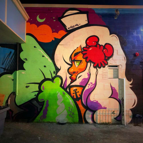 Murals by Merk Aveli seen at Paragon Boardwalk, Hull - Mermaid mural