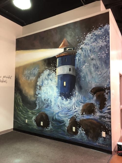 Murals by Renae Cannon Art seen at Evans Hairstyling College, Lindon - Be a Light not a Judge.