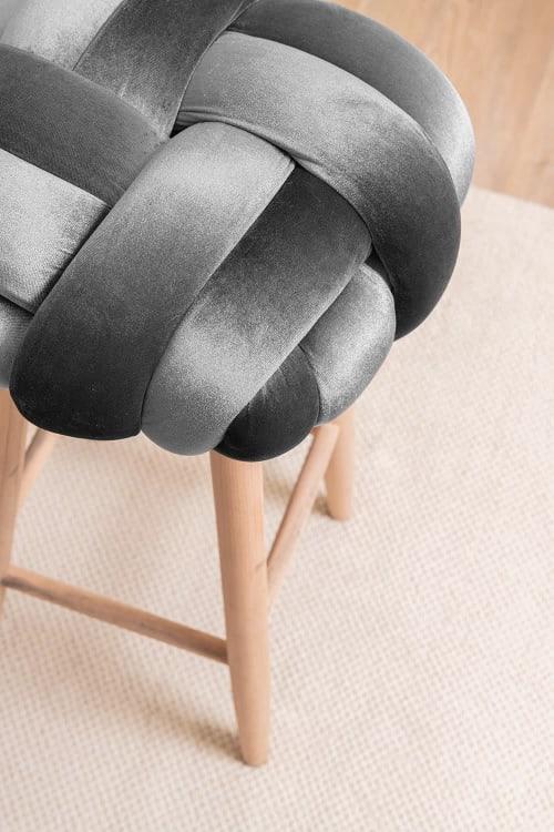 Dark Grey Velvet Knot Bar Stool | Chairs by Knots Studio