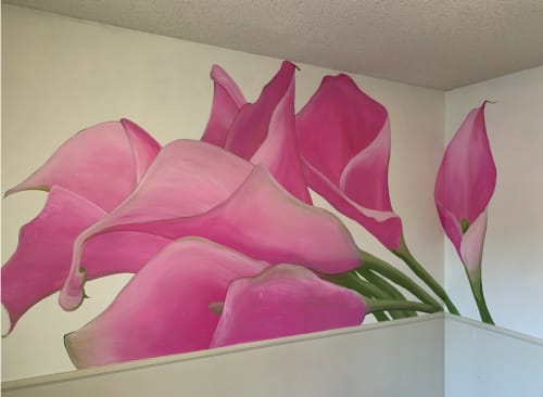 Murals by Jami Butler seen at Private Residence, Livermore - Lillies - Bedroom Mural
