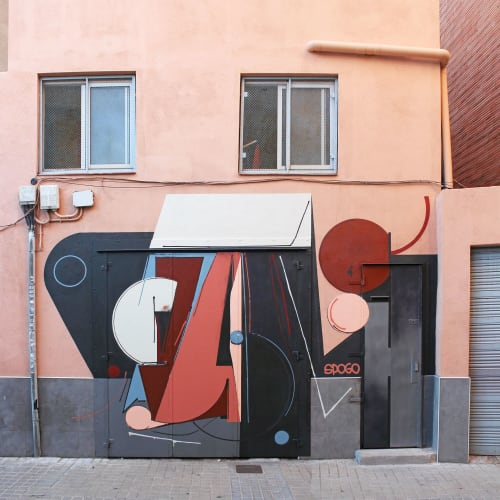 Murals by Spogo seen at Private Residence, Badalona - Moreno