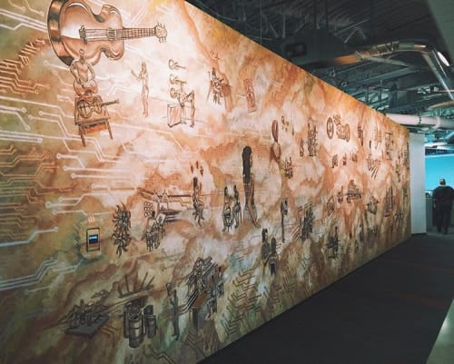 Murals by Justin Queal seen at GoDaddy Global Technology Center, Tempe - Interior Mural