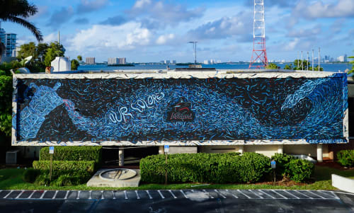 Street Murals by Eric Karbeling seen at Miami Beach, Miami Beach - Miami Marlins Mural in Miami Beach - Cafecito Wave