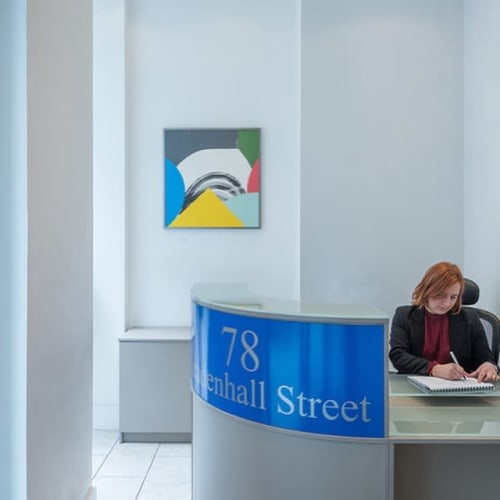 """Paintings by Jo Hummel seen at 78-79 Leadenhall St, London - """"Pull"""" and """"Push"""" Painting"""