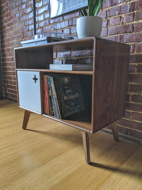 Furniture by Max Moody Design seen at Private Residence, Chattanooga - Record Player Stand with Receiver Slot | Record Player Stand