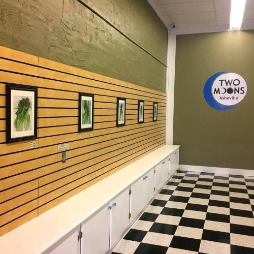 Paintings by Annie Kyla Bennett Art seen at Two Moons CBD & Wellness, Asheville - LadyBuds hemp art decor