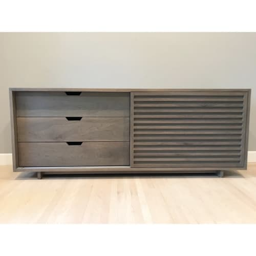 Solid Walnut Sideboard with Sliding Doors   Furniture by Angel City Woodshop