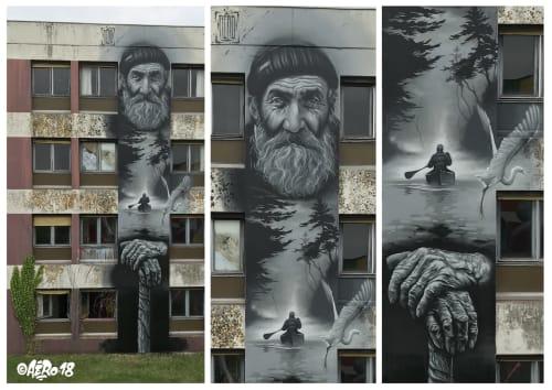 Street Murals by AERO seen at STREET ART CITY, Lurcy-Lévis - The Trapper