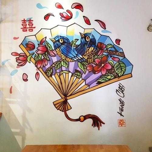 Murals by Kenji Chai seen at Heesan Kopi, Melaka - Retro Hand Fan