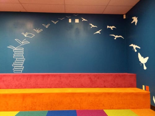 Murals by Avery Orendorf at Cedar Creek Elementary School, Austin - Reading Sets You Free