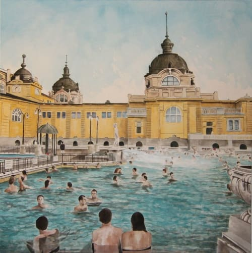 Paintings by Arran Harvey seen at San Francisco, San Francisco - Thermal Baths, Budapest, 2015, acrylic on canvas 50 x 50 inches