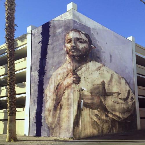 Street Murals by Gonzalo Borondo seen at 707 E Ogden Ave, Las Vegas - Mural