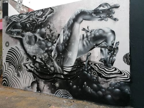 Street Murals by Don Fiya seen at Braamfontein Gate, Johannesburg - Cosmic immersion