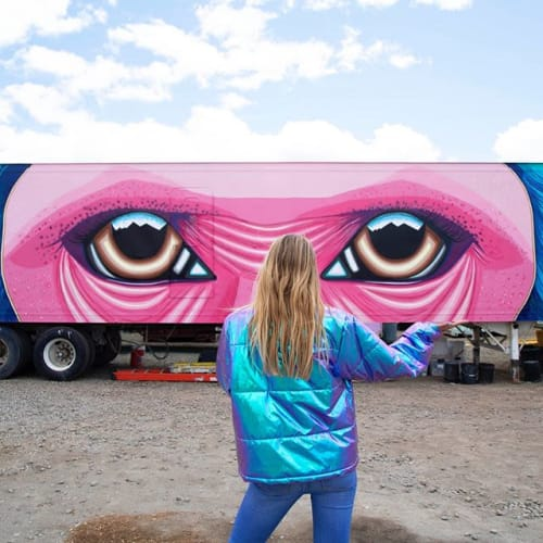 Murals by Ekaterina Sky Art seen at Black Rock City - Monkey's Eyes