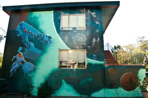 Street Murals by Lindsey Millikan (Milli) seen at Private Residence - Oakland, CA, Oakland - Outerspace Mural