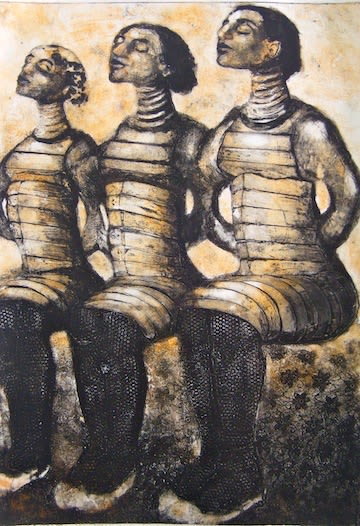 Three together.   Paintings by Corinna Button