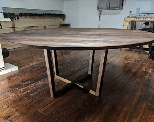 Solid Black Walnut Danish Modern Mid Century Modern Round Pedestal Dining Table By Ney Custom Tables Design And Fabrication Seen At Private Residence Wescover