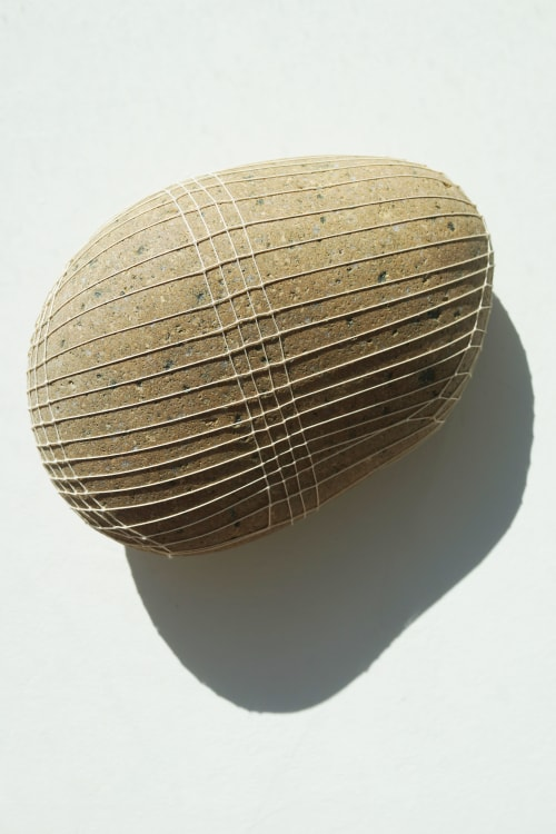 Sculptures by LAURA FISCHER seen at Leucadia, Encinitas - large taupe open weave