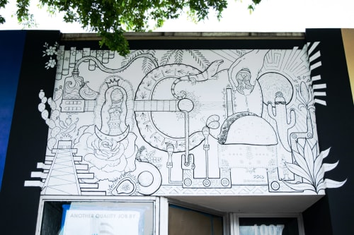 Murals by Daniela de Castro Sucre seen at Calle Ocho, Miami - Tortilla House Mural