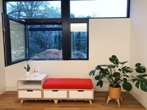 Furniture by Flitch Furniture seen at Private Residence, Raleigh - Plant stands and modular bench